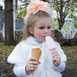 The beautiful girl eats ice-cream — Foto Stock
