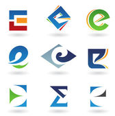 Abstract icons for letter E — 图库照片