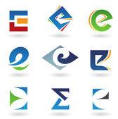 Abstrakt ikoner för bokstaven e — Stockfoto