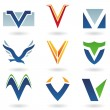 Abstract icons for letter V - Stock Photo