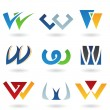 Abstract icons for letter W - Stock Photo