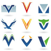 Abstract icons for letter V — Stock Photo