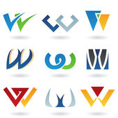 Abstract icons for letter W — Stock Photo