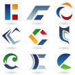 Stock Vector: Abstract icons for letter C
