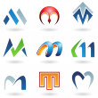 Abstract icons for letter M — Stock Vector