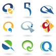 Abstract icons for letter Q — Stock Vector