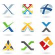 Stock Vector: Abstract icons for letter X