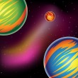 Colorful Fantasy Planets — Stok Vektör