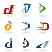 Abstract icons for letter D — Stock Vector