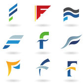 Abstract icons for letter F — Stock Vector