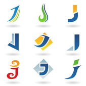 Abstract icons for letter J — Stock Vector