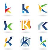 Streszczenie ikony na literę k — Wektor stockowy