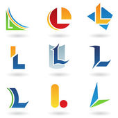 Abstract icons for letter L — Stock Vector