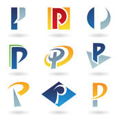 Abstract icons for letter P — Stock Vector