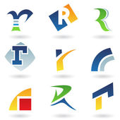 Abstract icons for letter R — Stock Vector