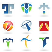 Abstract icons for letter T — Stock Vector
