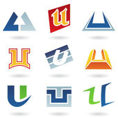 Abstract icons for letter U — Stock Vector