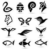 абстрактные животные иконы силуэты — Cтоковый вектор