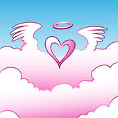 Angel Heart over the Clouds — Stock Vector
