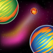 Colorful Fantasy Planets — Stock Vector