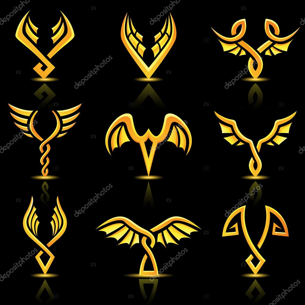 Vector illustration of Golden glossy abstract wings  Stock Vector #6250126