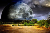 Dreamscape with full moon and nature — Stock Photo