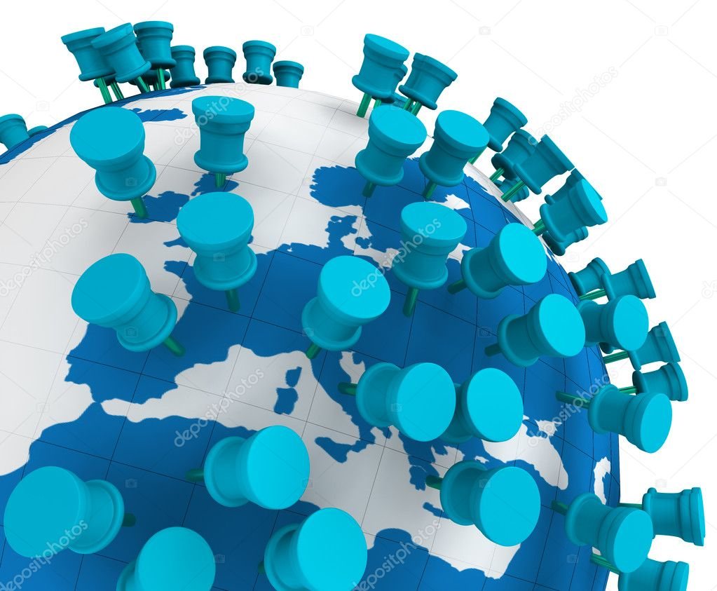 Globe world map and Push Pins isolated in white — Stock Photo #6058447