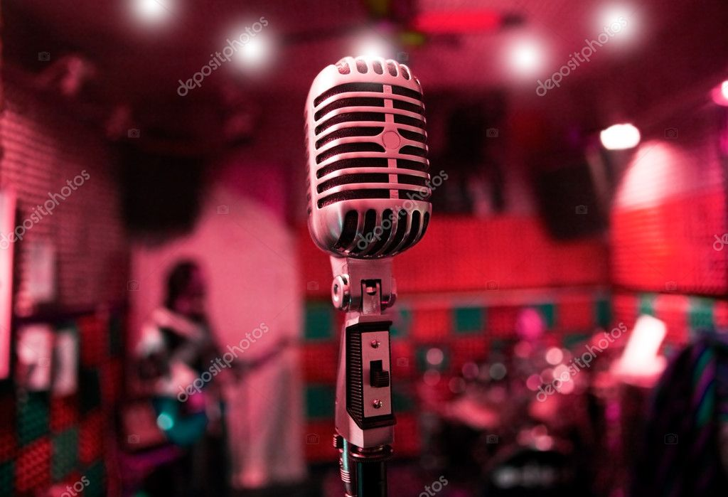 Abstract background music with vintage microphone and musicians — Stock Photo #6058454