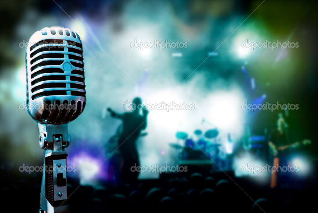 Illustration concert and vintage microphone — Stock Photo #6058460