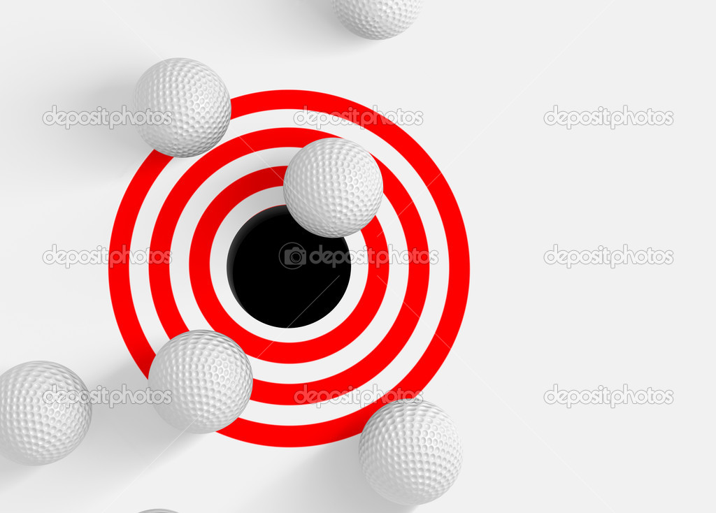 Conceptual 3d image with golf balls and hole  Stock Photo #6058570