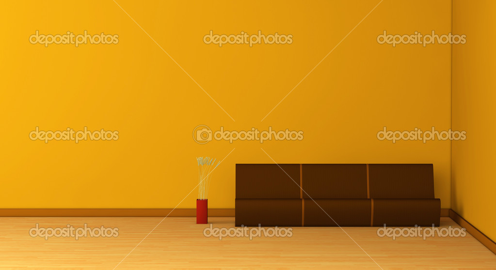 One 3d render of an empty room with a modern sofa and a vase — Stock Photo #5460175