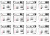 2012 年-日历的所有月份 — 图库照片