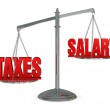 Weigh taxes and salary — Stock Photo