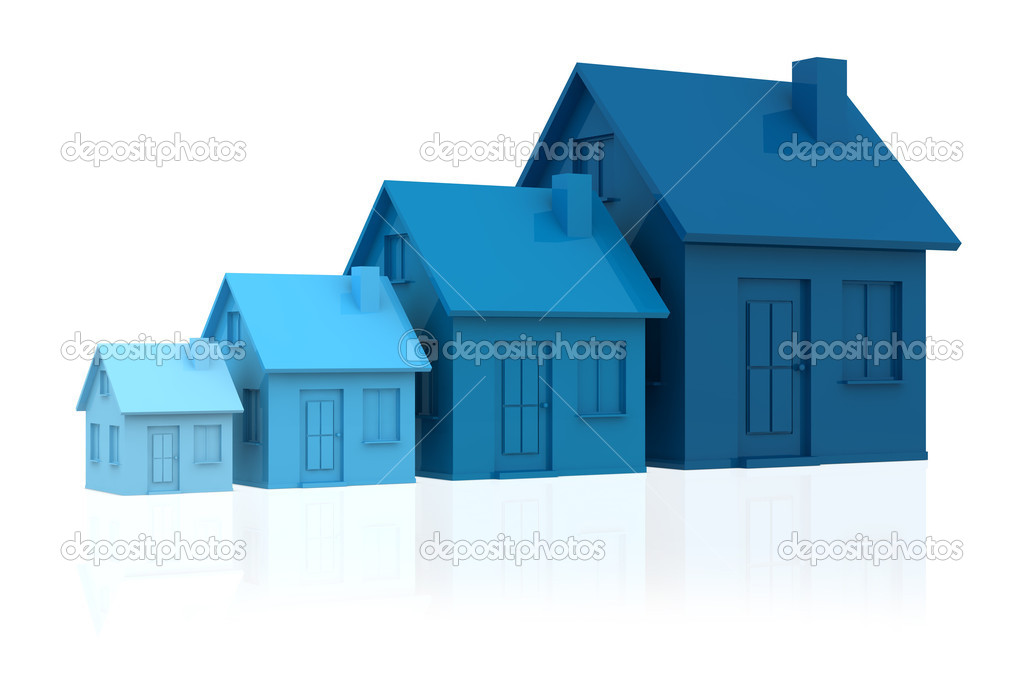 Four houses. every house is greater than the previous and has a darker colour (3d render) — Stock Photo #5940079