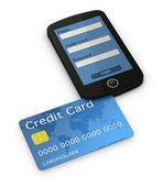 Cellphone and credit card — Foto Stock