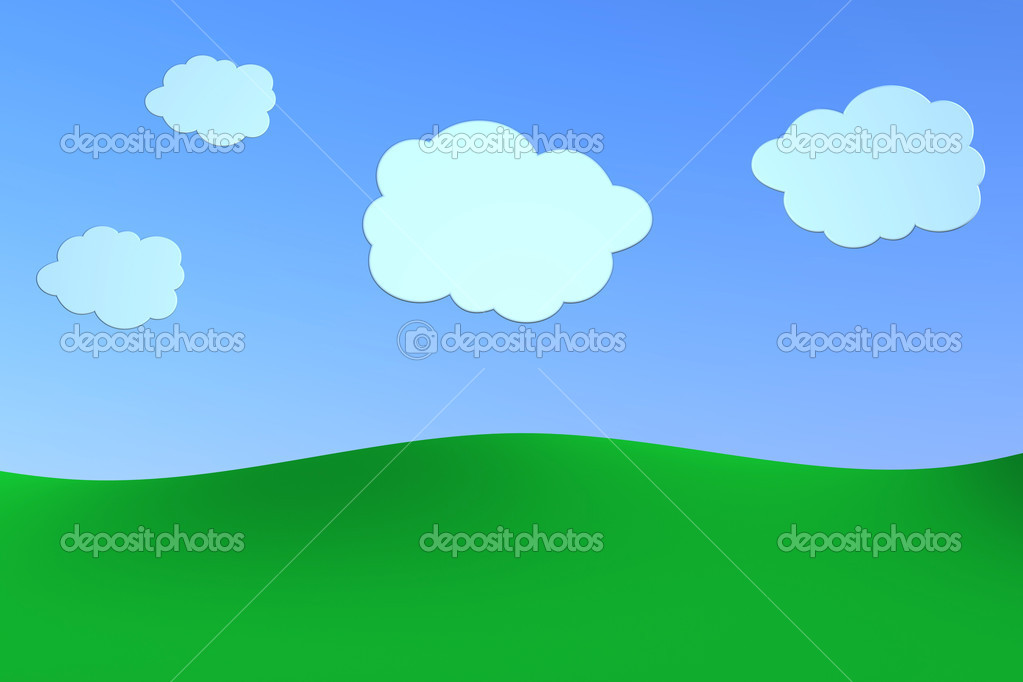 Green hills with a blue sky and some clouds, made using a cartoon style. the scene is intentionally empty for further personalizations (3d render) — Stock Photo #6070060