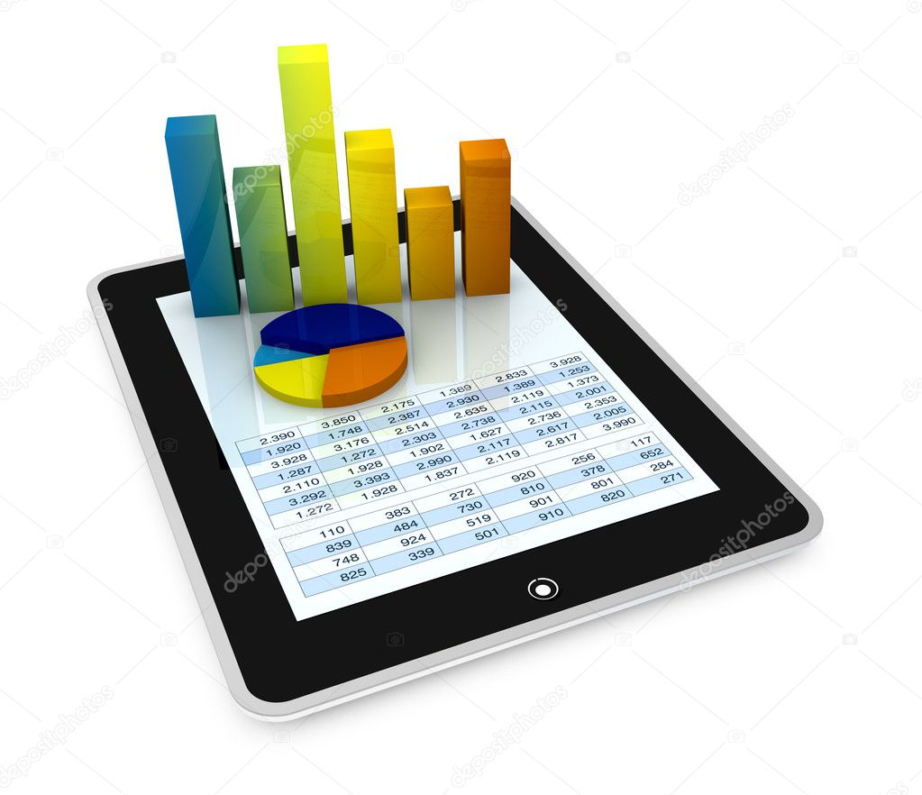One computer tablet showing a spreadsheet with some 3d charts over it (render) — Stock Photo #6742673