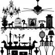 diseño de interiores de muebles antiguos de decoración del hogar — Vector de stock