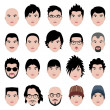 Vector de stock : MMale Face Head Hair Hairstyle