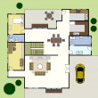 Floorplan Architecture Plan House — Imagen vectorial