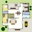 floorplan architektura planu domu — Wektor stockowy