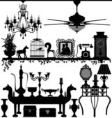 Antique Home Decoration Furniture Interior Design — Vector de stock