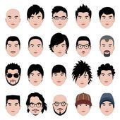Man Male Face Head Hair Hairstyle — Stock Vector