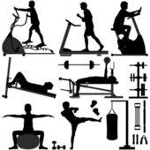 Gym Gymnasium workout Exercise man — Stock Vector