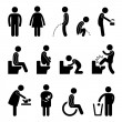 Royalty-Free Stock Vectorielle: Toilet Bathroom Pregnant Handicap Public Sign