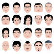 Man face shape hairstyle round fat thin old - Stock Vector