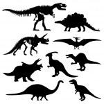 Dinosaur Silhouette Prehistoric Skeleton Bone — Stock Vector