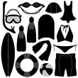 Stock Vector: Swimming Diving Snorkeling Aquatic Equipment Tool
