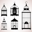 Bird Cage birdcage vintage retro silhouette - Stock Vector