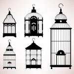 silhouette retrò vintage gabbia uccello gabbia — Vettoriale Stock  #6184305